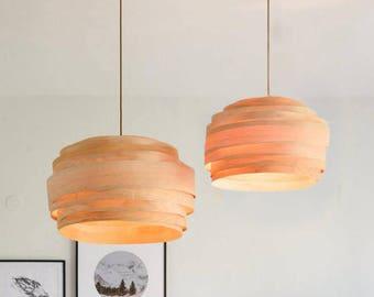 "Free shipping, Pendant light, Pendant lamp, hanging lamp, hanging light, ceiling lamp, ceiling light, Maple veneer lampshade,""Light Cloud"""