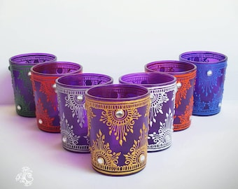 Henna Candle- Purple Glass Candle Holder- Valentines Gift-  Mehndi party favor- Home Decor- Wedding favor- Party Favor- Set of 7