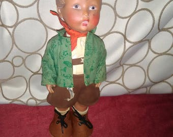 """Hummel 12 """"Rubber Doll named Anderl with original clothes and tag"""
