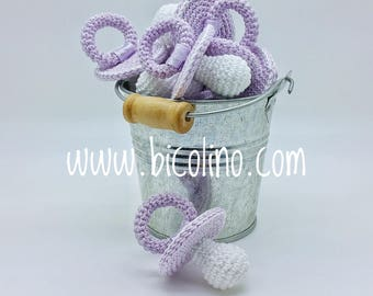 Lot 10 pacifiers crochet lilac