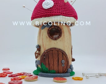 Pins Holder / Fairy House / Mushroom house with a red Roof, Mushroom with fairy house - Unique, One of a Kind - Ready to Ship