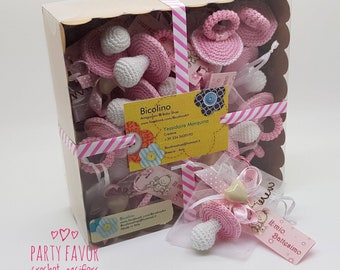 Lot 15 pacifiers crochet package favors for birth / baptism pink rose