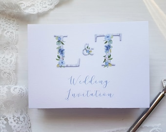"""Rustic Blue Flower Letters Wedding Invitation // accordion fold // concertina fold // SAMPLE ONLY // Design """"Elodie"""""""