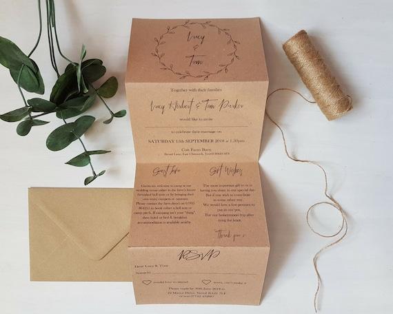 Rustic Wedding Invitations Nz: Rustic Kraft Wedding Invitation // Accordion Fold //