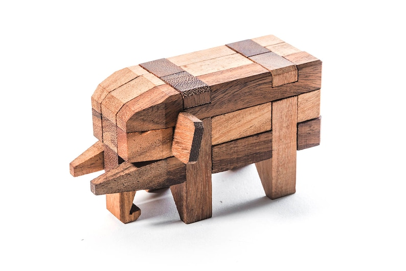 Wooden Elephant Puzzle Wooden Animals Wooden Figurines Wooden Elephant Interlocking Puzzle