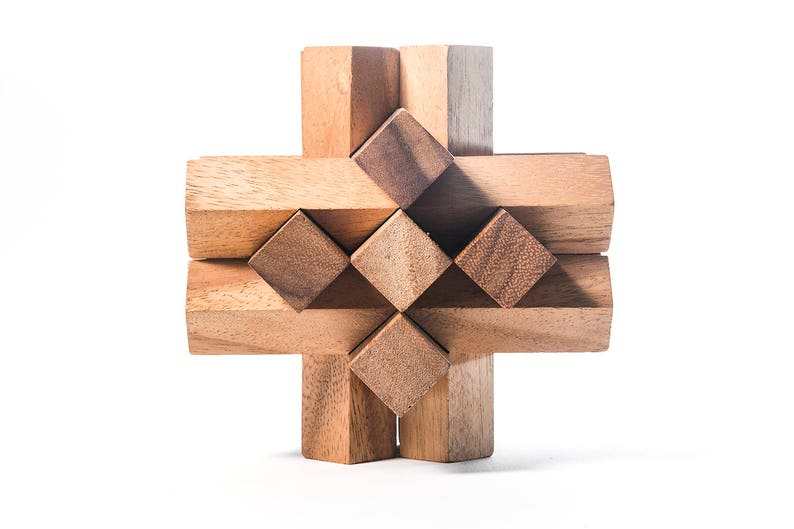Locked Bricks - 3D wooden interlocking brain teaser puzzle