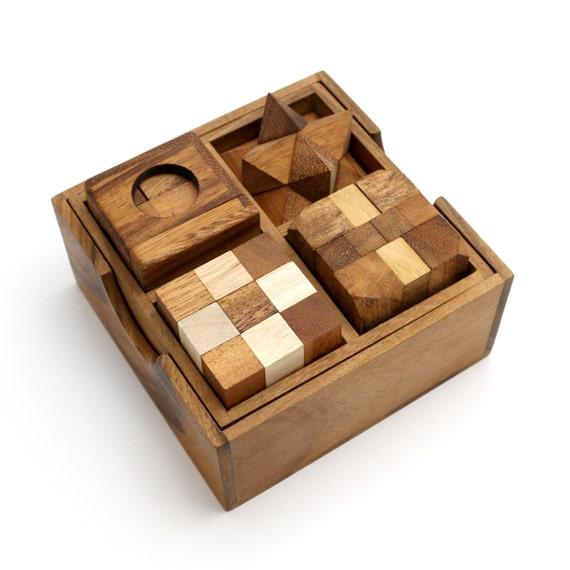 4 wooden brain teaser puzzle gift set unique puzzles wood ...