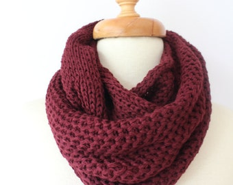 knit Scarf, unique gifts, infinity Scarf, Chunky Scarf, Scarves, burgundy scarf, Womens Scarfs, christmas