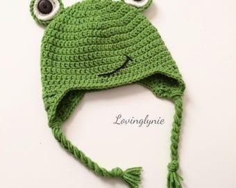 3defa90e1b5 Crochet frog beanie   frog hat   frog   baby photo prop   crochet beanie