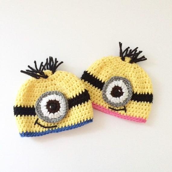 2ea015a06c416 Crochet baby minion hat   minion beanie   baby beanie   baby
