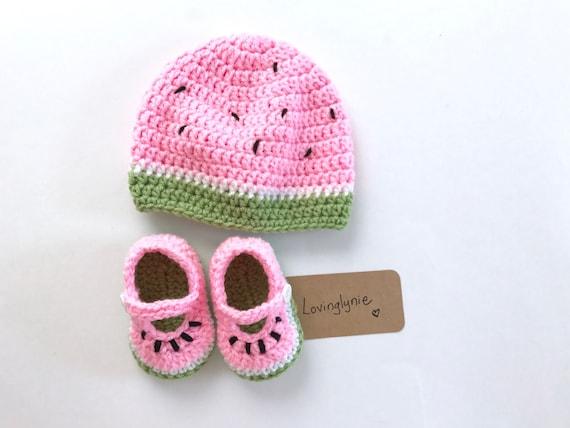 6a6c9bd665e Watermelon beanie and shoes watermelon baby hat watermelon