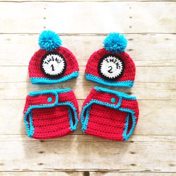c30311ab0c8 Thing 1 and thing 2 beanies and diaper cover set twins beanie