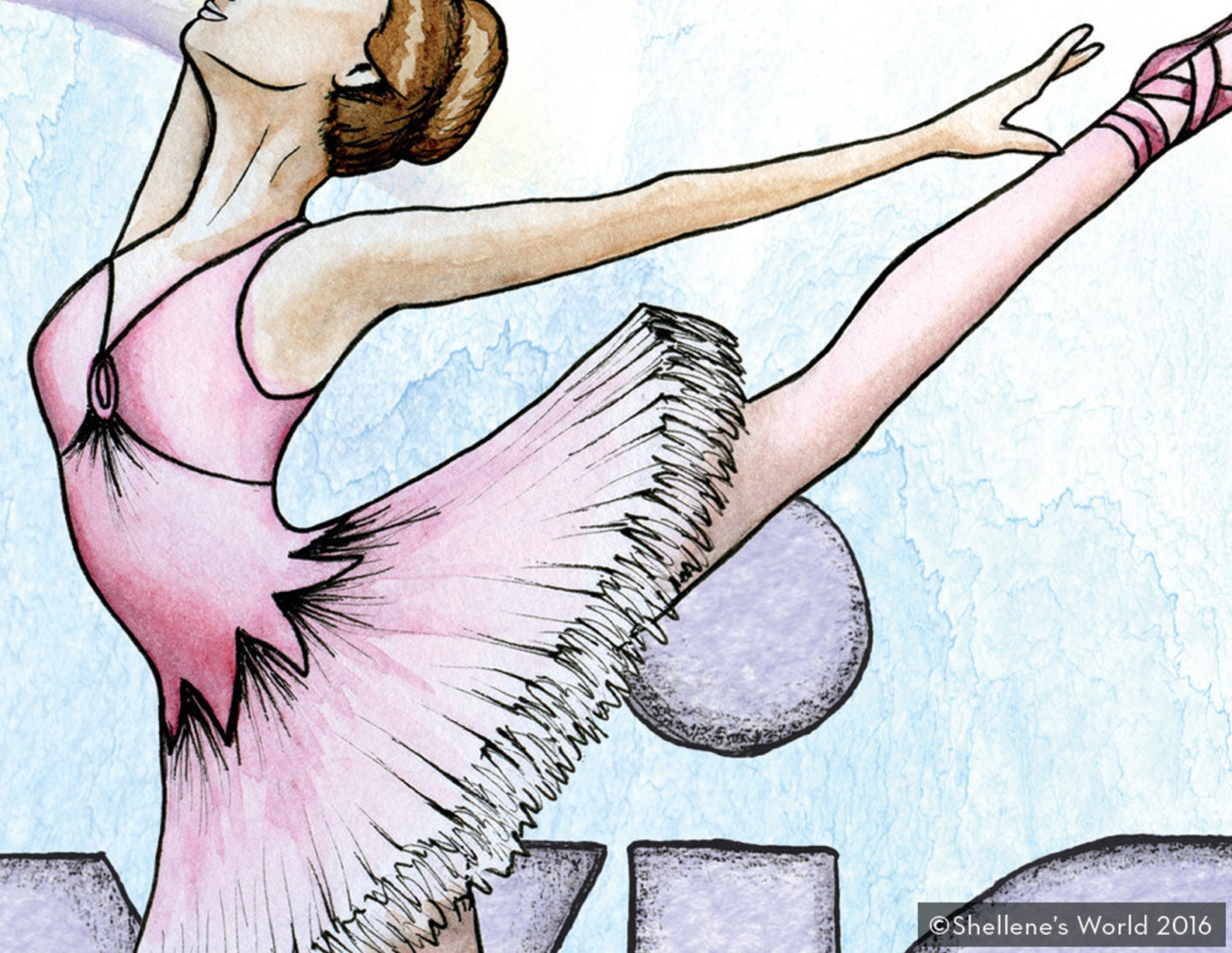 ballerina / ballet watercolor illustration print - art gift - nursery / children wall art