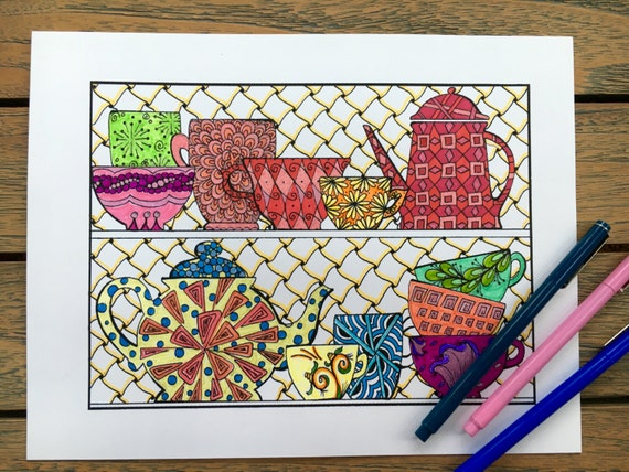 Adult Coloring Pages Coffee Cups Teacups Printable Art Etsy