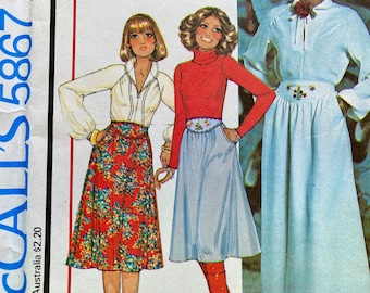 """Vintage, Raglan Sleeve, Pull Over Blouse and Embroidered Yoke, Midi or Maxi Skirt, Sewing Pattern; McCalls 5867; Size 12 Bust 34"""""""