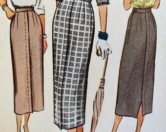 "Vintage, Straight, Midi Skirt, Sewing Pattern; McCall 7809; Waist 24"""