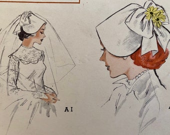 "Vintage, Bridal Hat, Veil, Bonnet, Sewing Pattern; Butterick 5701; Size Medium 22"""