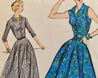 """Vintage, Sleeveless or Three Quarter Sleeve, Shirt Dress with Semi-Circle Skirt, Sewing Pattern; Vogue 9136; Size 14 Bust 34"""""""