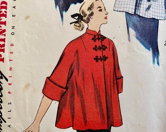 """Vintage Kimono Sleeve, Maternity Jacket with Peter Pan, Mandarin Collar or Square Neckline Sewing Pattern; Simplicity 3616; Size 13 Bust 31"""""""