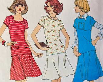 """Vintage, Short Sleeve, Round or Square Neckline, Top and Bias, A Line Skirt, Sewing Pattern; Simplicity 7304; Size 10 Bust 32.5"""""""