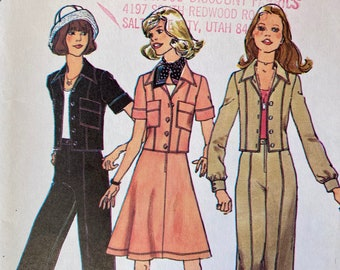 """Vintage, Unlined, Short Jacket, A Line Skirt and Wide Leg Pants; Simplicity 6812; Size 10 Bust 32.5"""""""