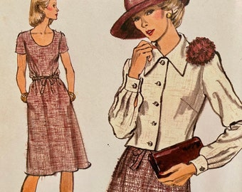 """Vintage, Short Sleeve Dress and Unlined Jacket, Sewing Pattern; Vogue 9132; Size 14 Bust 36"""""""