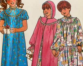 Girls Nightgown and Robe Sewing Pattern; Butterick 6355; Sizes 10, 12, 14