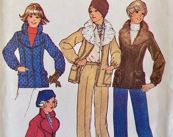 """Vintage, Jacket with Detachable Faux Fur Collar and High Waist Pants, Sewing Pattern; Simplicity 7193; Sizes 10, 12 Bust 32.5"""" - 34"""""""