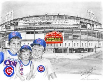 Chicago Cubs Wrigley Field Pencil Drawing CUSTOM