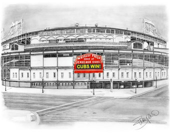 """Chicago Cubs baseball Wrigley Field Pencil Drawing - 11x14"""""""