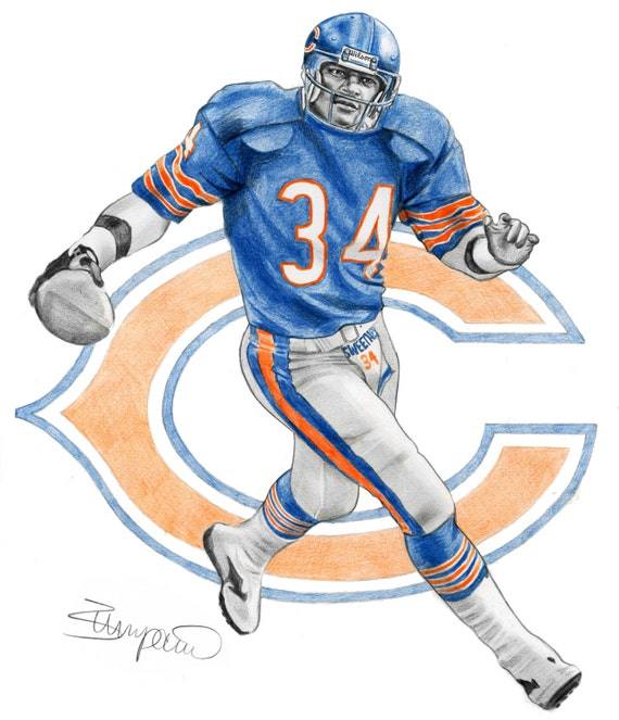Walter Payton Chicago Bears Football Pencil Drawing 11x14