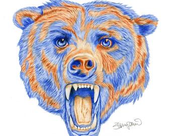 """Chicago Bears 3D Logo - 11x14"""""""
