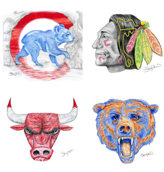 Chicago sports logos: Chicago Bears, Blackhawks, Bulls, Cubs or White Sox