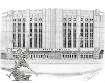 "United Center Drawing with Michael Jordan statute - 11x14"""