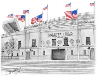 """Chicago Bears football Soldier Field Pencil Drawing - 8x10"""""""