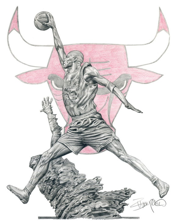 Michael Jordan Statue Chicago Bulls Pencil Drawing | Etsy