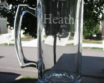 Etched Beer Mug with 1 Line of Text