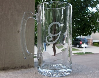 Etched Beer Mug with Initial