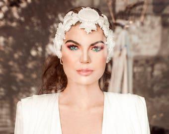 White wedding flapper headpiece - beaded gypsy headpiece - white head jewelry - white beaded flapper headband - flapper headdress