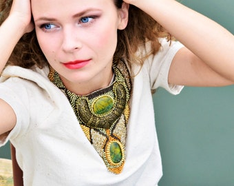 Unique necklaces for women, big ethnic necklace, beadwork jewelry, chunky necklace, collar necklace, statement necklace, large necklace