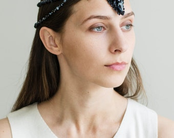 Black crystal hair beads accessories for women and men,