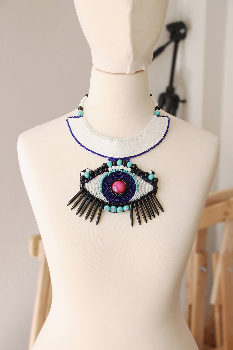 Protection Jewish jewelry eye necklace for women and men unisex beadwork design