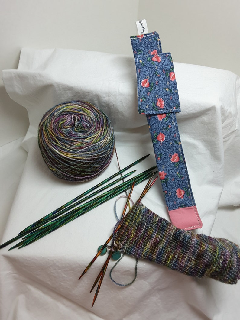 Field of blue with pink flowers double pointed needle holder for your work in progress