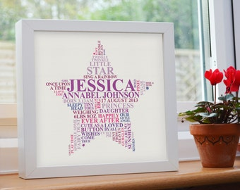 new baby daughter star word art gift personalised nursery picture newborn birth christening present unique typography