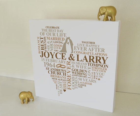 Unusual 50th Wedding Anniversary Gifts: Items Similar To Canvas Golden Wedding Anniversary Gift