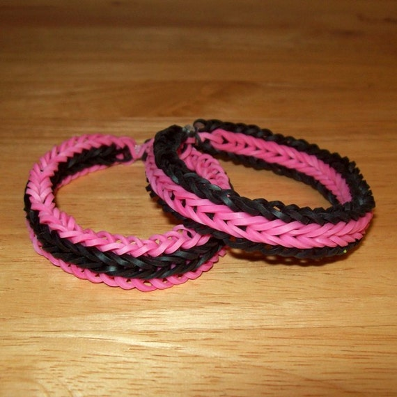 Rainbow Loom Rubber Band Bracelets Fishtail With Border Pink Etsy