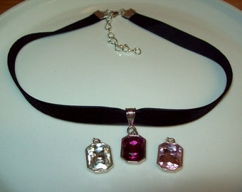 Black Velvet Choker with Gemcut Glass Charm, with Extension Chain, Choice of Gemcut Glass Color