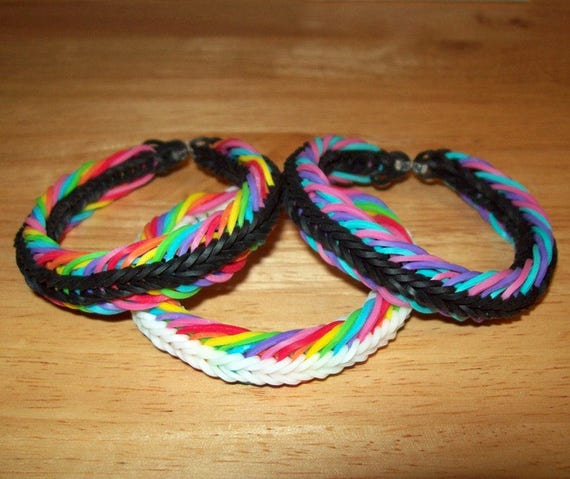 Rainbow Loom Super 7 Seven Link Style Rubber Band Bracelet Etsy