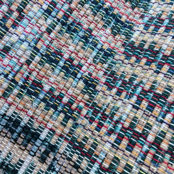 Green And Tan Rag Rug 38 X 26 Hand Woven Light And