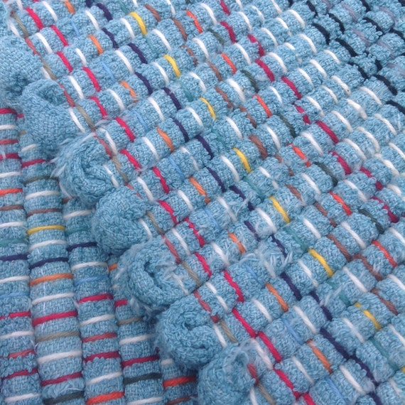 Rag Rugs For Sale Australia: Turquoise Rag Rug 35 X 26 Hand Woven From Up